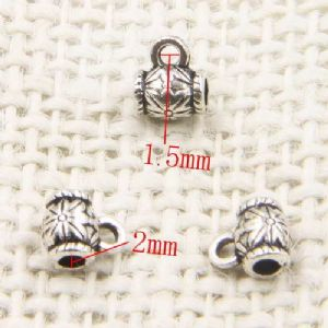 Pendant connector, Tibetan silver [an alloy of nickel and copper], Silver colour, black, 6.3mm x 4.7mm x 9.4cm, 2 pieces, [LJP489]